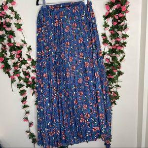 🌹LuLaroe Blue Floral Colorful Wrap Skirt Womens L